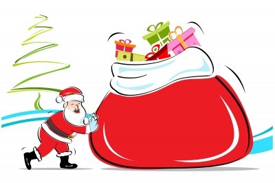 Santa Clause with a Big bag of toys